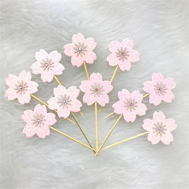 10 Pcslot Pink Sakura Flower Cake Topper Birthday Cake Decoration