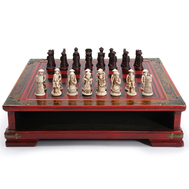 Hot Sale 32Pcs/Set Resin Chinese Chess With Coffee Wooden Table Vintage Collectibles Gift Entertainment Board Game