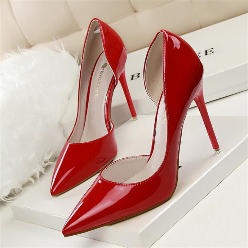 New fashion stiletto high-heeled patent leather shallow mouth pointed hollow sexy slim high heels single shoes womens shoesNew fashion stiletto high-heeled patent leather shallow mouth pointed hollow sexy slim high heels single shoes womens shoes
