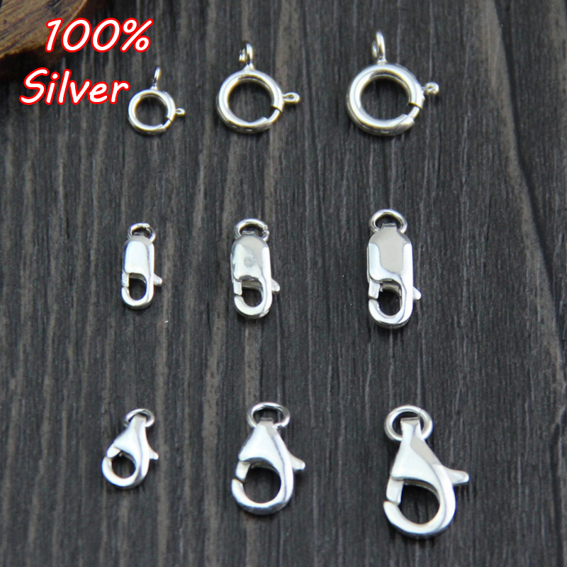 4pcs 100% 925 Sterling Silver Lobster Clasp Hooks For Necklace&Bracelet Chain DIY Fashion Jewelry Making Findings