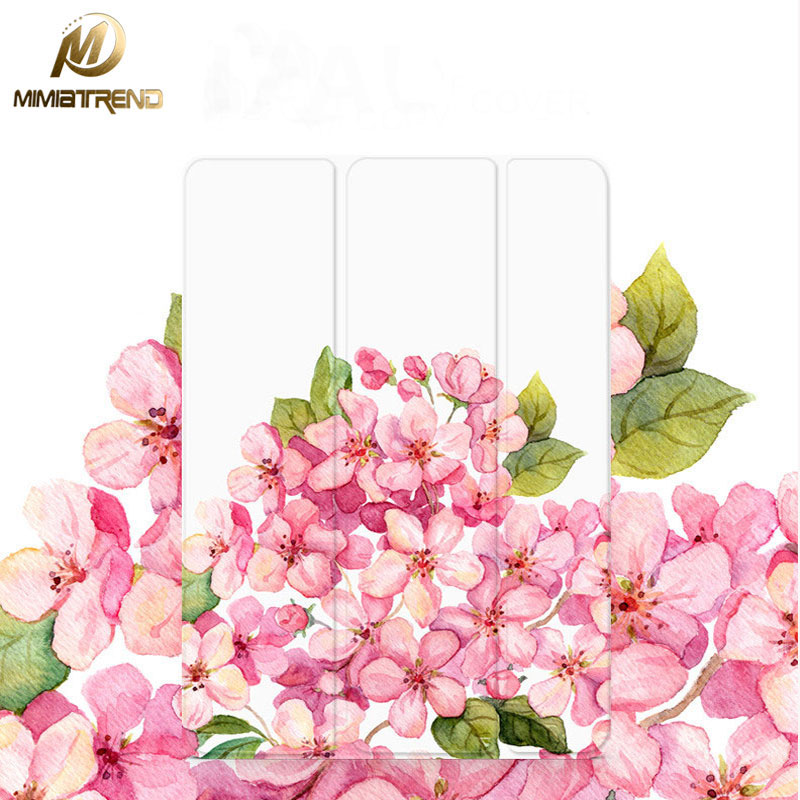 Mimiatrend Pink Flowers Stand Design PU Leather Case for iPad mini 2 3 4 Smart Cover Smartcover for iPad 2 4 5 + Protective film zinuo 1pc dc power jack splitter adapter connector cable 1 dc female to 2 3 4 5 6 male plug for cctv camera led strip light