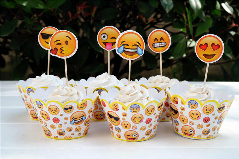 12pcs Emoji Cupcake Topper Kids Birthday Cake Decoration Props Brithday Party Summer Pool Supplies