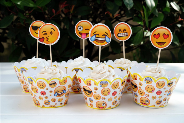 24pcs Emoji Cupcake Topper Kids Birthday Cake Decoration Props Brithday Party Summer Pool Supplies