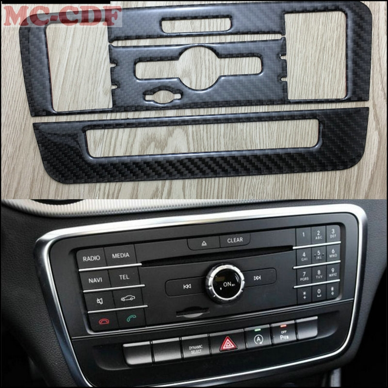 Car styling For Mercedes Benz A GLA CLA Class W176 X156 A180 Carbon Fiber Dashboard Central Console CD Panel Control Cover Trim car center console panel decoration cover trim carbon fiber car styling 2pcs for mercedes benz new e class w213 200 300 2016 17