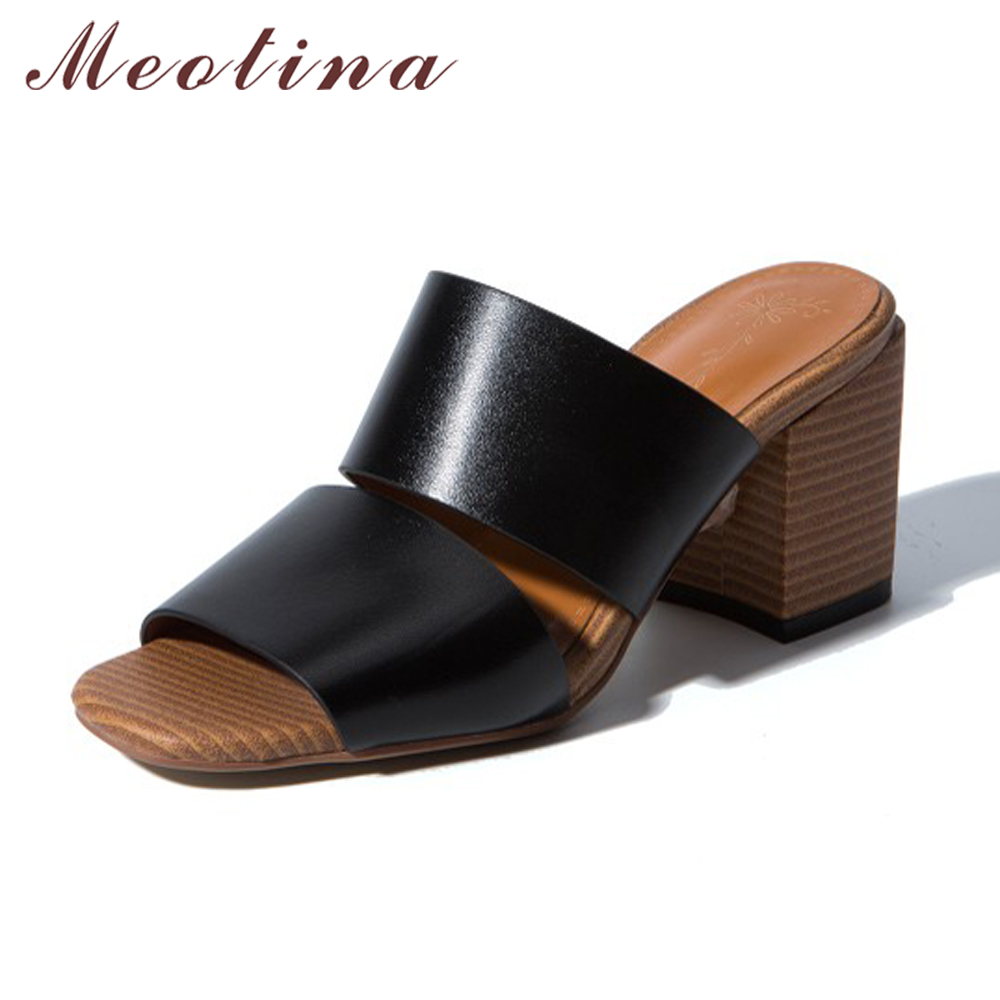 Meotina Women Sandals Genuine Leather Shoes Summer Ladies Slides Thick Heels Slippers Open Toe High Heels Sandals Big Size 11 45 meotina brand design mules shoes 2017 women flats spring summer pointed toe kid suede flat shoes ladies slides black size 34 39