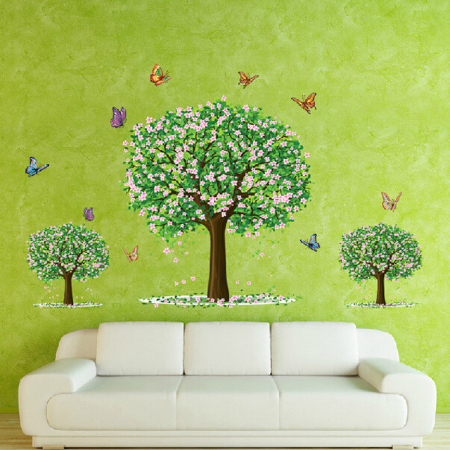 Cheap 60*90cm Wall Stickers For Kids Rooms Wall Decals Countryside Three  Trees Butterfly Wall