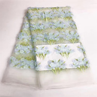 3D Organza kant stof met stof Roze 3D chiffon rozet bloemen applicaties, wedding bruidsjurk stof door yard JY34-1