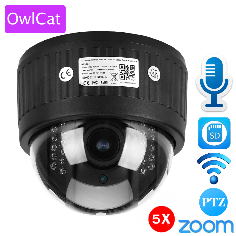 OwlCat 5X Zoom 2.7-13.5mm Indoor Wireless Rotate Dome PTZ IP Camera WiFi HD 1080P Audio Microphone SD Card IR Night Onvif P2P owlcat hd 1080p dome ptz ip camera wifi 5x optical zoom audio microphone security cctv wifi camera sd slot ir night onvif2 4 p2p