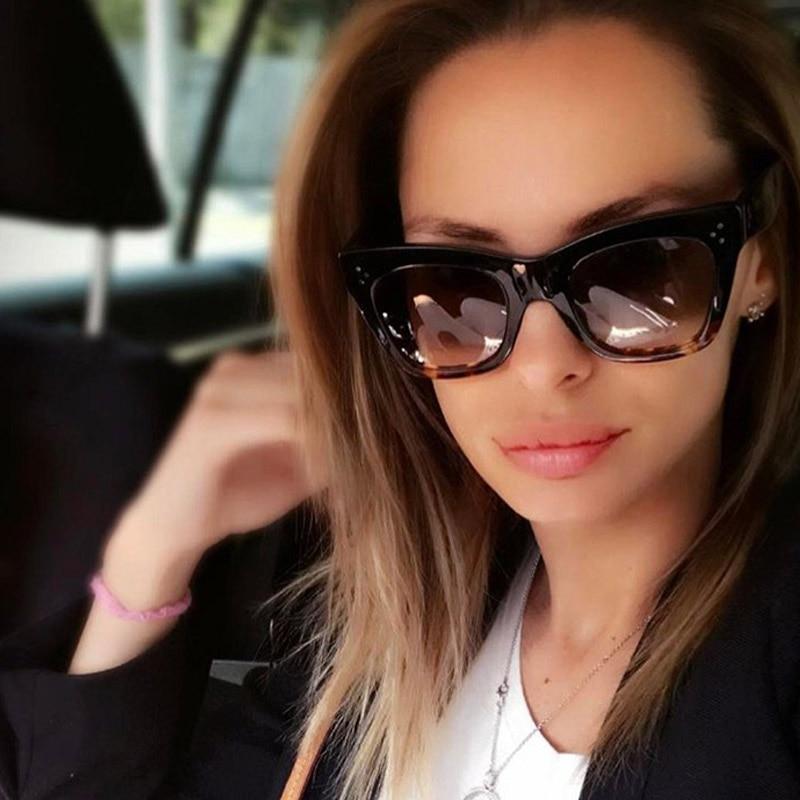 2017 Rivet Fashion Square Sunglasses Women Cat Eye Luxury Brand Big Black Sun Glasses Mirror Shades Lunette Femme Oculos UV400