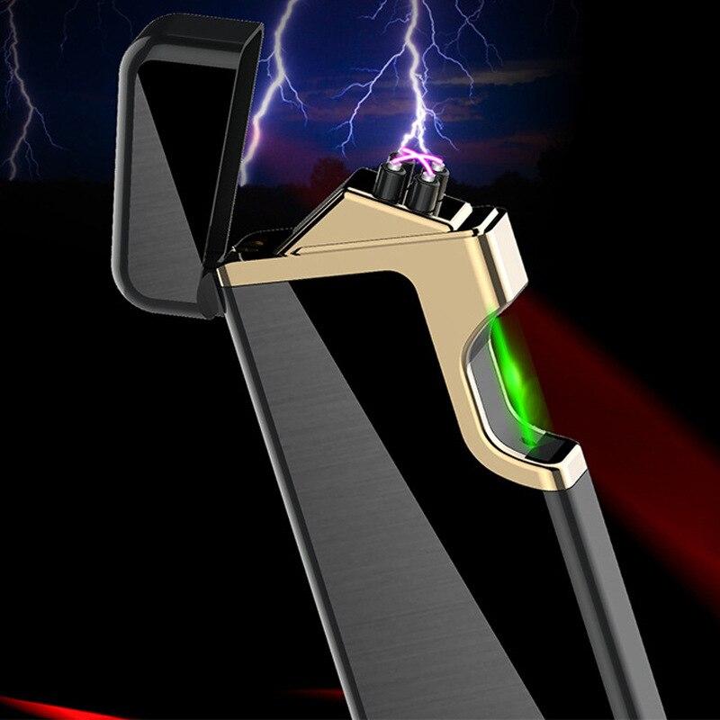 Encendedor electrónico de cigarrillo de encendido láser verde rápido con Plasma USB doble arco encendedor para encendedores eléctricos Turbo de Metal de vela