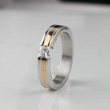 Широкий 4 мм циркон Золотые полосы кольца Нержавеющей Стали 316L женщины палец кольцо оптовые много ювелирных изделий