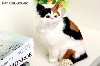 simulation squatting cat hard model,polyethylene&furs coloured cat large 19x14x26cm handicraft,home decoration gift s0719