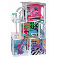 110CM Wooden Dollhouse Kit with Furniture Working Elevator Diy Pretend Play Toys Perfect Gift Doll House Large Toy for Girl