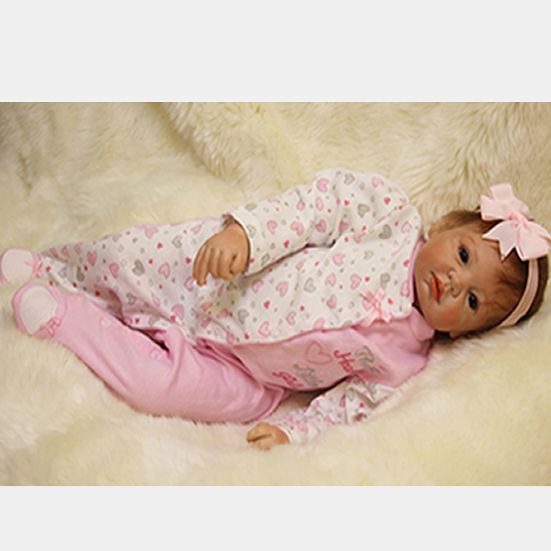 With Pink Headband Reborn Baby Doll 22 Inch 55 cm Newborn Silicone Babies Girl Cloth Body Lifelike Dolls Toy Kids Birthday Gift can sit and lie 22 inch reborn baby doll realistic lifelike silicone newborn babies with pink dress kids birthday christmas gift