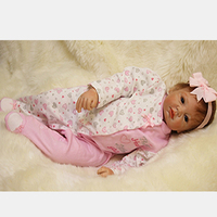 With Pink Headband Reborn Baby Doll 22 Inch 55 cm Newborn Silicone Babies Girl Cloth Body Lifelike Dolls Toy Kids Birthday Gift