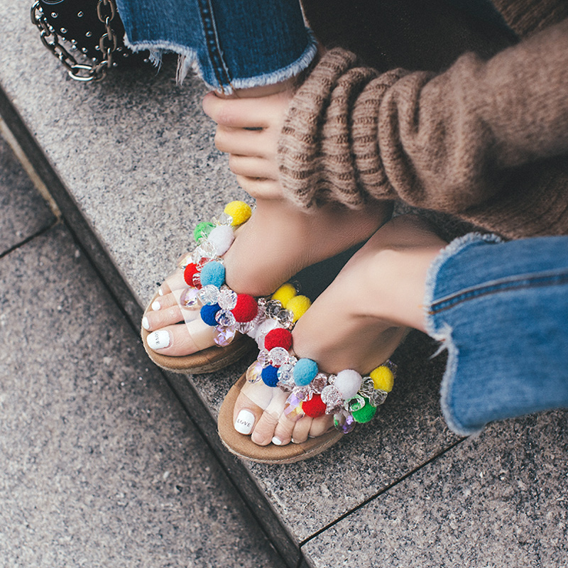 Bohemian Wedge Heels Summer Shoes Females Color Pompon Straw Bottom Slippers Sandals! цена