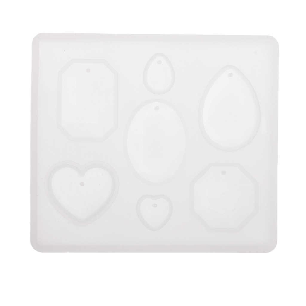 DIY 7 スタイル宝石カボションネックレスイヤリングペンダントチャーム型穴シリコーン樹脂鋳造ジュエリーメイキング金型