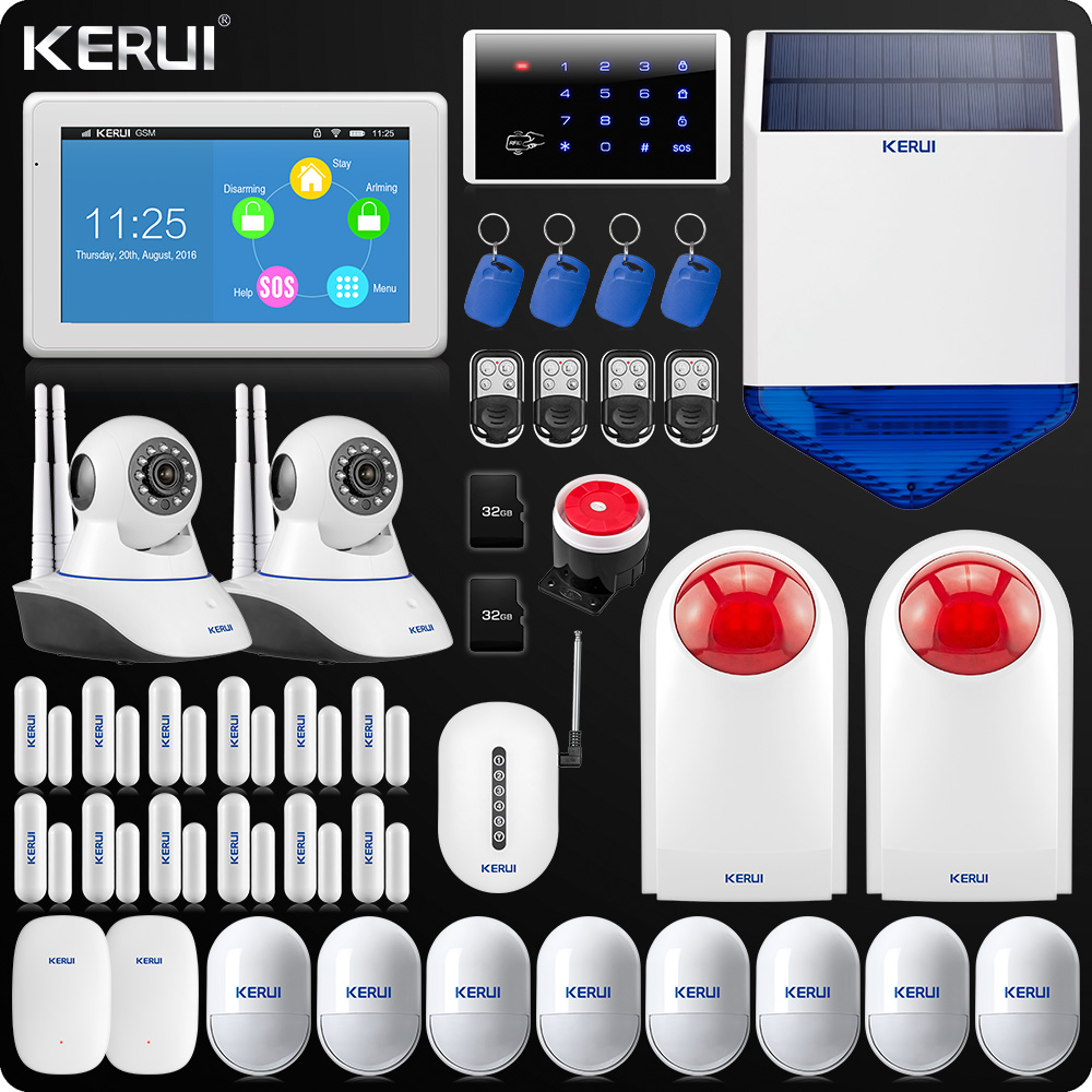 K7 KERUI Touch-Screen 7 Inch TFT Color Display WIFI GSM Alarm System Home Alarm Security Dual Antenna Wifi IP Camera