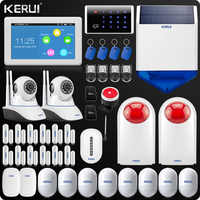 Neue Ankunft KERUI Touch-Screen 7 Zoll TFT Farbe Display WIFI GSM Alarmanlage Hause Alarmanlage + Dual antenne Wifi IP Kamera