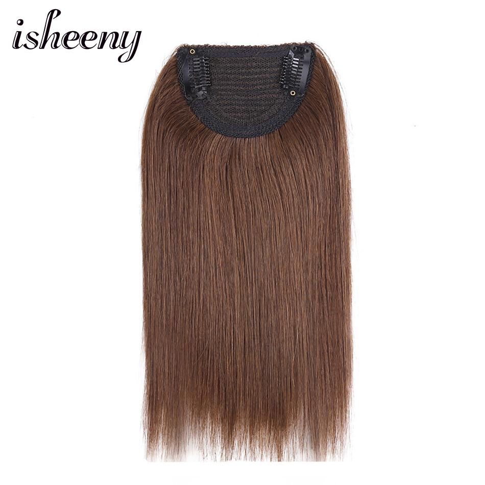 """Isheeny 10"""" Remy Clip In One Piece 2 Clips In Human Hair Extensions 50g Top Clip On Hair Pieces Straight Natural Color For Women"""