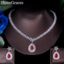 ThreeGraces Classic CZ Stone Hot Red Crystal Flower Big Water Drop Earrings Necklace Bridal Jewelry Set For Women JS174