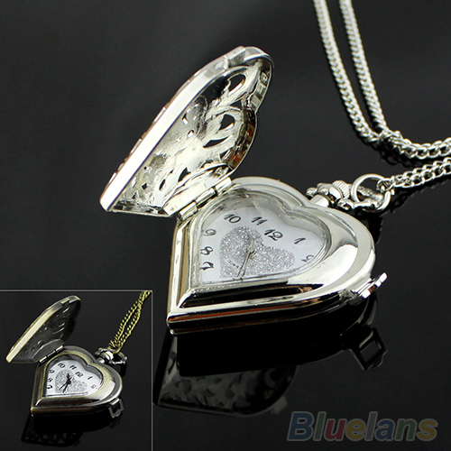 Hot Sales Hollow Heart-Shaped Watch Necklace Pendant Chain Women