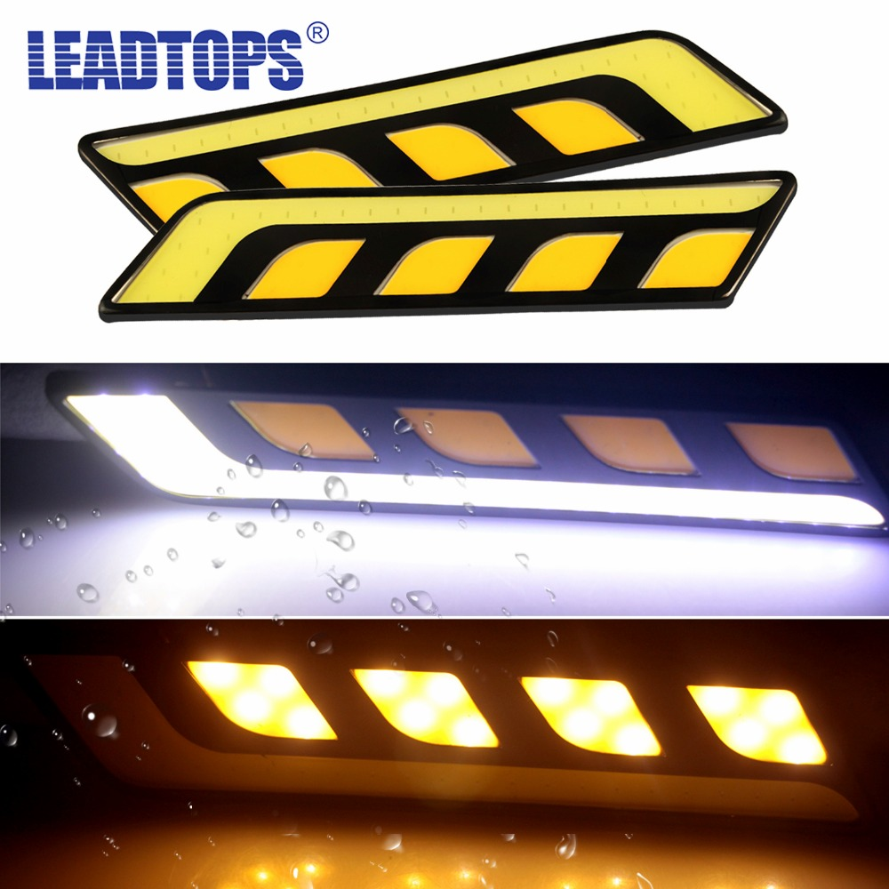 La más nueva luz de cabeza blanca / amarilla para automóviles COB LED Luces diurnas DRL + Faros antiniebla con señal de giro G