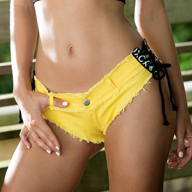 5 Colors Sexy Lace Up Pole dance thong shorts Women jeans denim Micro Mini Ultra Low Rise Waist Clubwear cortos mujer DK044S20 8
