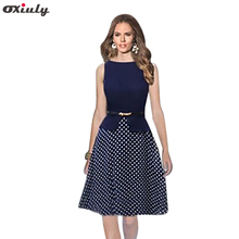 Oxiuly Dropshipping Women Sleeveless Empire Waist Dot Contrast Color Wear to Work Elegant Cut Dresses With Belt