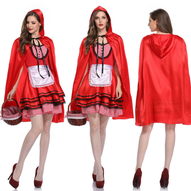 high quality red sexy maid cosplay Dress plus size adults little red riding hood costume for girls halloween costumes for women