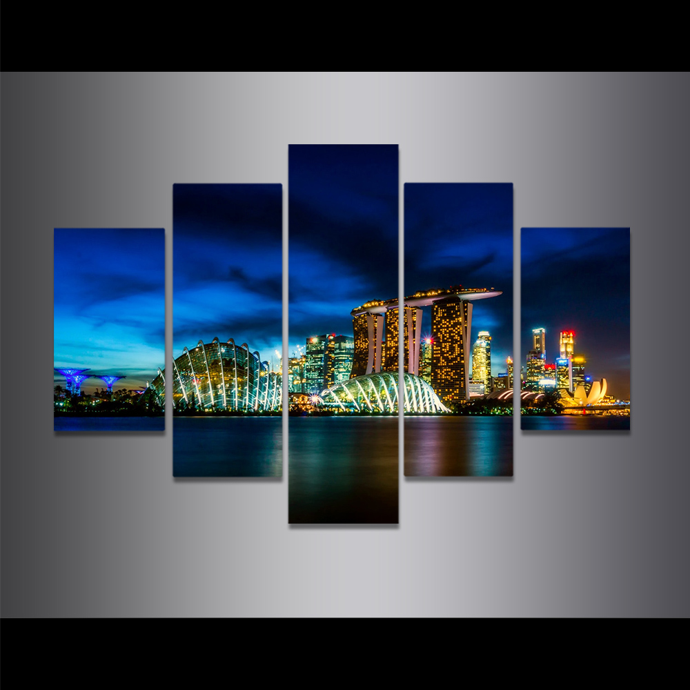 Unframed Canvas Painting City Night Scene Marina Bay Sands Picture Prints Wall Picture For Living Room Wall Art Decoration
