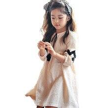 סתיו תינוק בנות שמלת Loose כותנה פשתן פנס שרוול שמלות קשת מזדמן בני נוער ילדים נסיכת חליפת חדש שנה