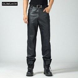 Мужские брюки большого размера из натуральной кожи, свободные мотоциклетные брюки из натуральной воловьей кожи, 2019 толстые теплые штаны дл...