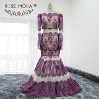 Rose Moda High Quality Two Pieces Long Sleeves Lace Prom Dress See Through Skirt Purple over Nude Prom Dresses Real Photos