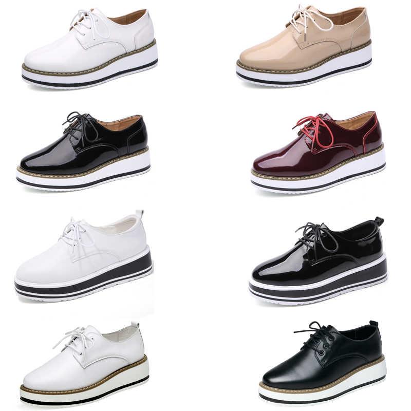 EOFK Primavera Plataforma de Las Mujeres Zapatos de Mujer Atan Para Arriba Calzado de Charol Pisos Brogue Oxford Zapatos Planos Femeninos de las mujeres zapatos derby zapato oxford mujer