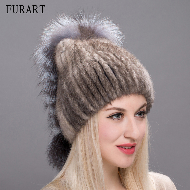 Winter Women s Fur Hat Genuine Natural Fox Mink Fur Cap Russian Style Hats  Fashion Sliver Fox Fur Pompom Female Hat DHY17-10 eb106109669