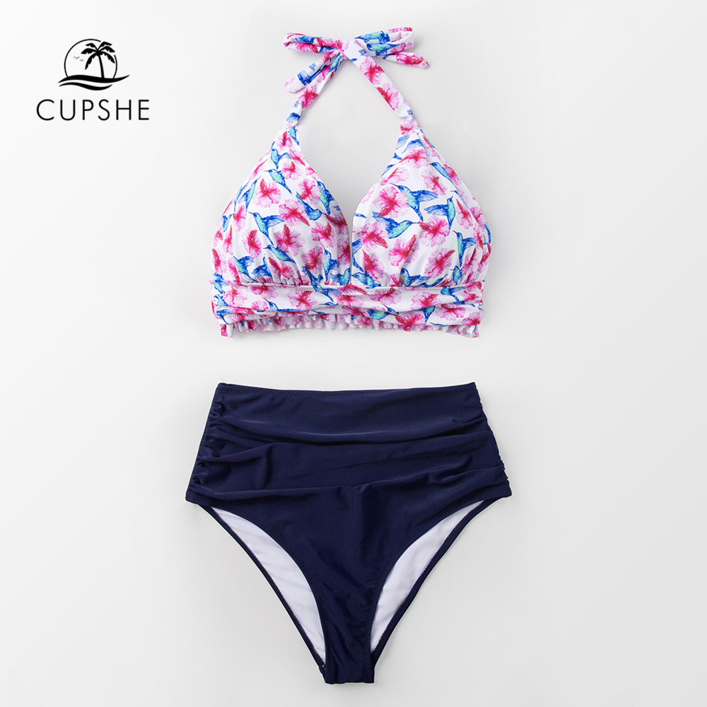 CUPSHE Tropical High Waist Halter Bikini Sets Women Sexy Two Pieces Swimsuits 2019 Girl Beach Bathing Suits Swimwear