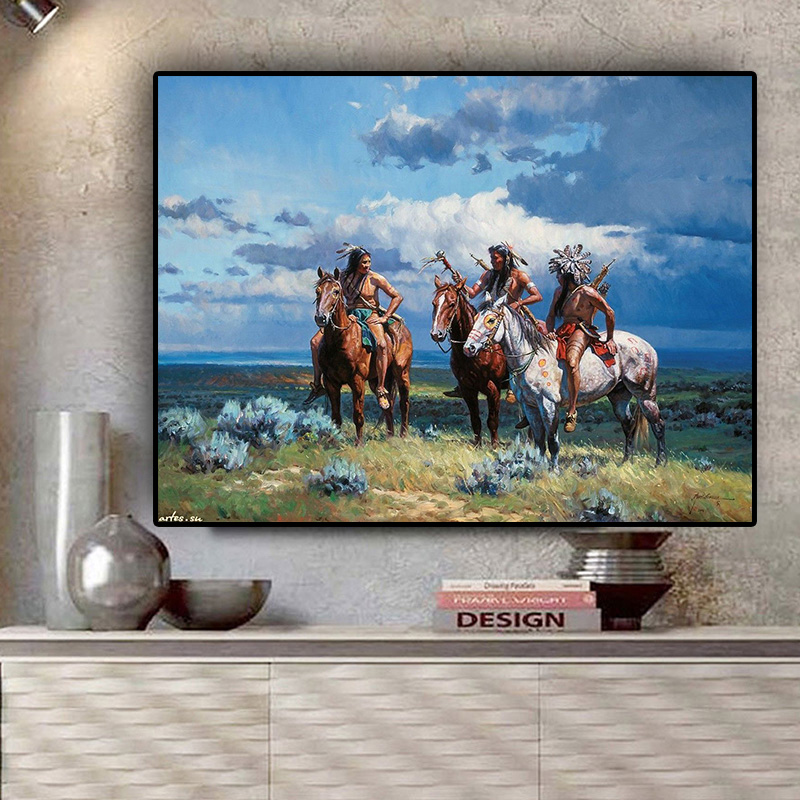 Native Indian Ride Horse Portrait Painting on Canvas Posters and Prints Scandinavian Wall Art Picture for Living Room(China)