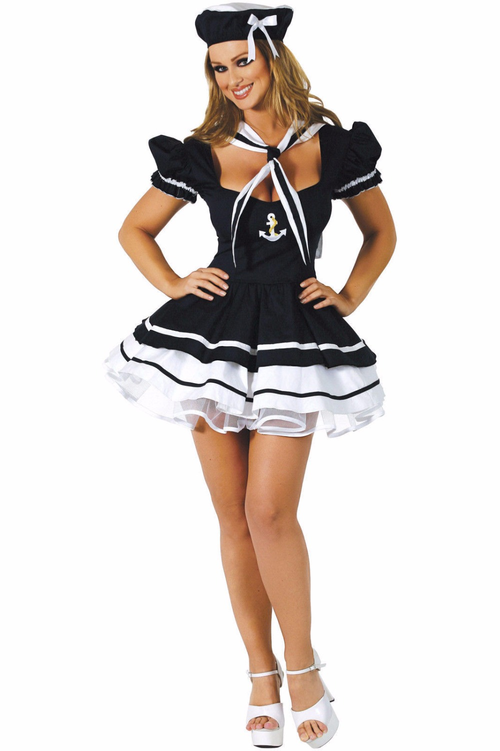 <font><b>Halloween</b></font> <font><b>Sexy</b></font> Sailor Navy Lace Mini Dress Costume Cosplay Girl Hen Party Erotic Temptation Stage Fancy Dress image