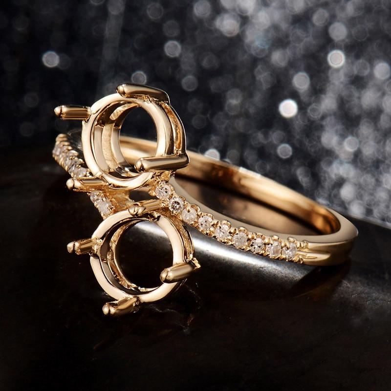 Women Fashion Jewelry Semi Rings Two Stones Round 6mm Ring Mounting 14Kt Yellow Gold 0.09Ct Diamond Wedding Setting Ring DIY