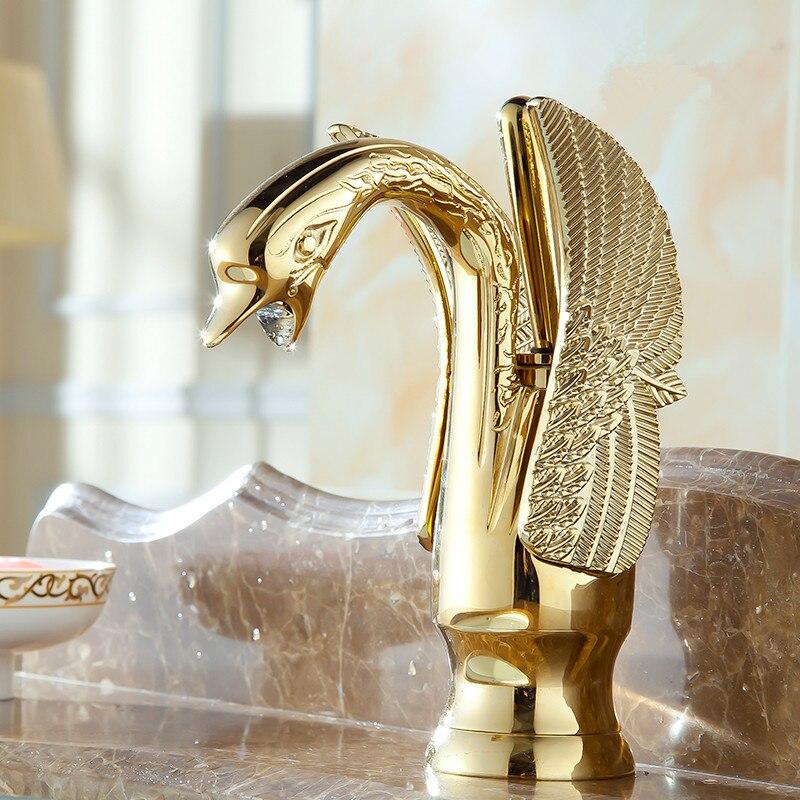 European Style Golden Swan Taiwan Basin Faucet Gold Antique Brass Tap Retro Brass Finished Basin Faucet Ju09