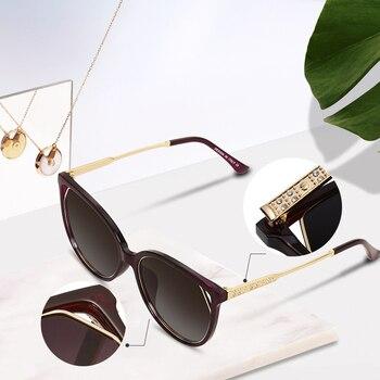 77c6fff196 AOFLY BRAND DESIGN Cat Eye Sunglasses Women's Polarized Fashion Sun Glasses  For Women Rhinestone Temple Goggles UV400 A104