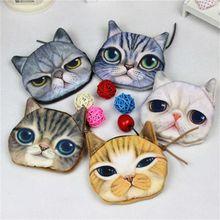 3D девушка сумка кошелек дамы мини кошка лицо молния портмоне кошелек монет плюшевые собаки Bolsa де моэда мешок монедеро Гато