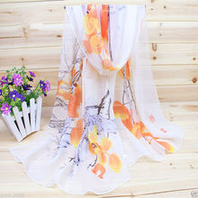 62*20″ spring and autumn Pretty Womens Orange Flower Long Soft White Chiffon Beach Stole Wrap Shawl Scarf