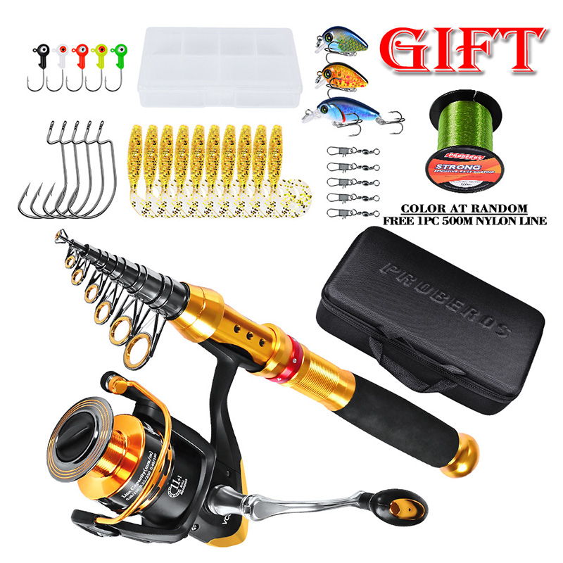 PROBEROS Telescopic Fishing Rod Set And Reel Full Combo Kit Spinning Fishing Reel Tackle Pole Suit