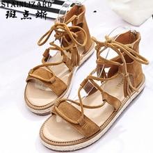 Новые замшевые туфли босоножки с кисточками, женские на плоской подошве помочь охладить ботинки на молнии после 2017 весна-лето женская обувь BT520