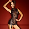 2017 New Black Sexy Wetlook Dress Lace Back Vinyl Leather Lingerie Novelty Exotic Apparel Chemises Women Underwear W870201