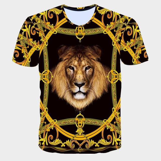 a7c1515f 2019 New 3D Lion T-Shirt Male Gothic Gold chain Animals Print T Shirts  Unisex Hipster Hip Hop Punk Rock Slim Summer Tops Tees