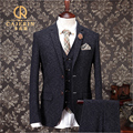 Vintage Thick Christmas Tweed Suit Men Slim Fit Grey Tuxedo Wedding Groom Herren Anzug Terno Mens 3 Piece Suits