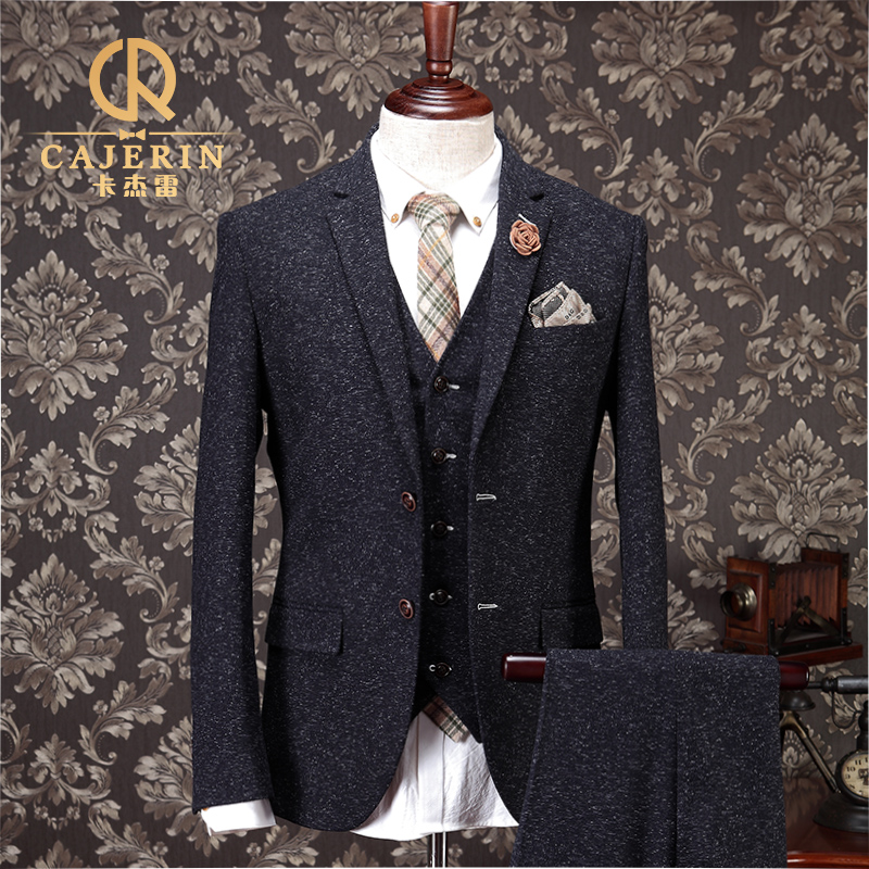 Black tweed wedding suit